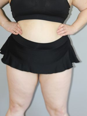 Matte Black Mid Waisted Skort - Plus Size