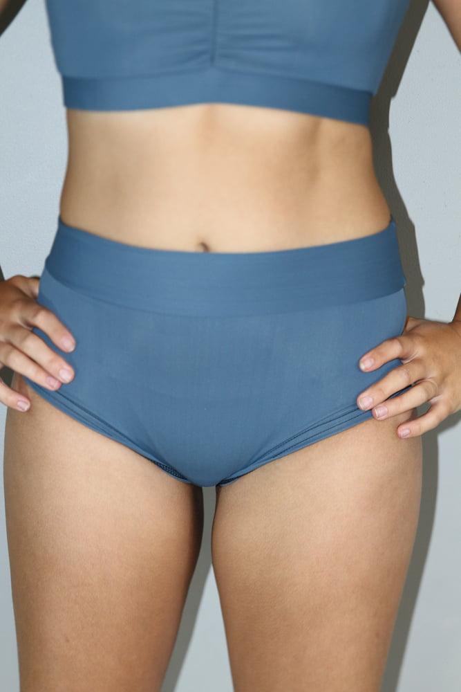 Rarr designs Smoky Blue High Waisted BRAZIL Scrunchie Bum Shorts