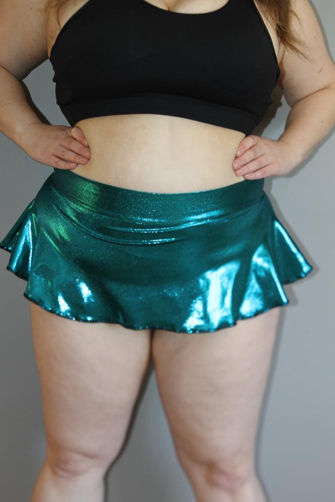 Jade Sparkle Mid Waisted Skort - Plus Size