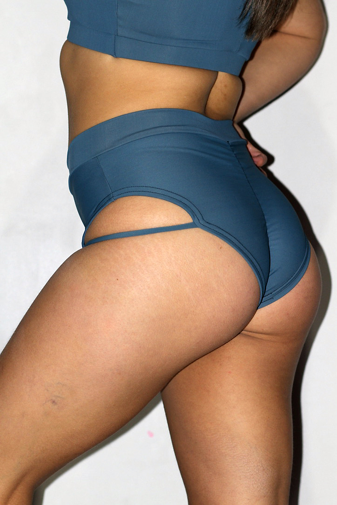 Rarrdesigns Smoky Blue Strap High Cut BRAZIL Scrunchie Bum Shorts
