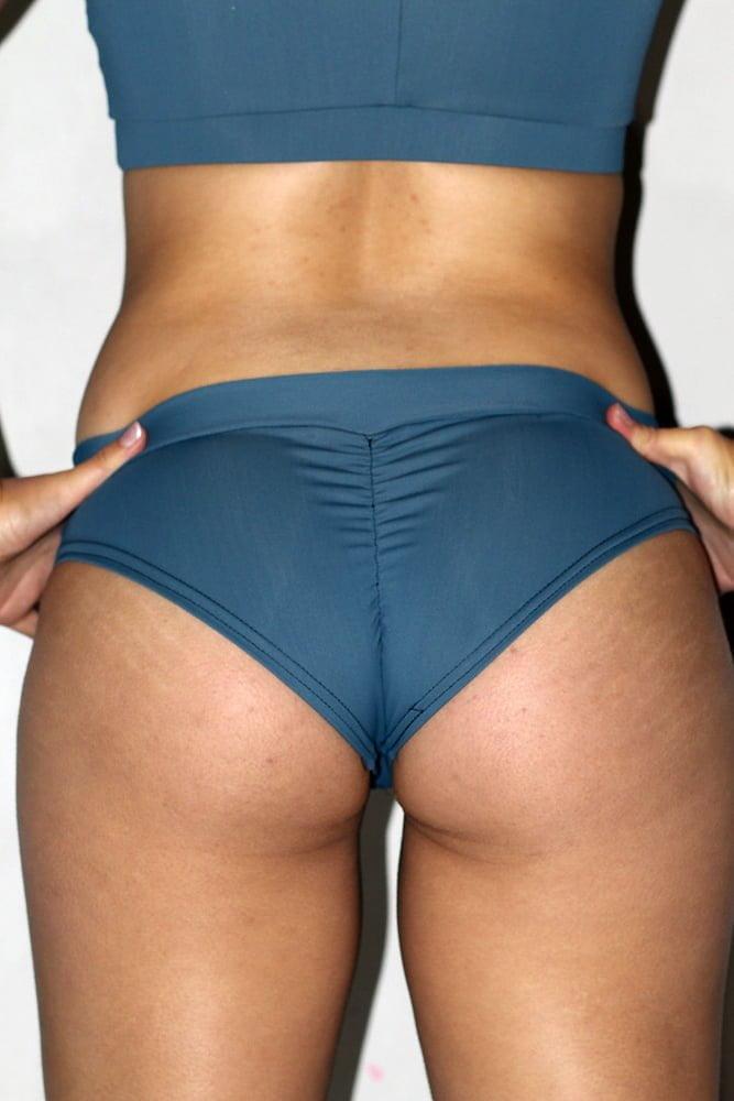 Rarr designs Smoky Blue BRAZIL Fit Scrunchie Bum Shorts