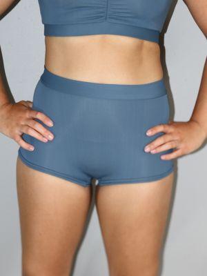 Smokey Blue High Waist Cheeky Shorts