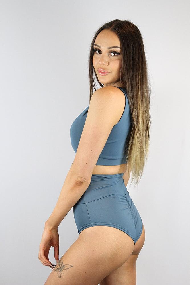 Rarr Designs Smokey Blue SUPER High Waisted BRAZIL Scrunchie Bum Shorts