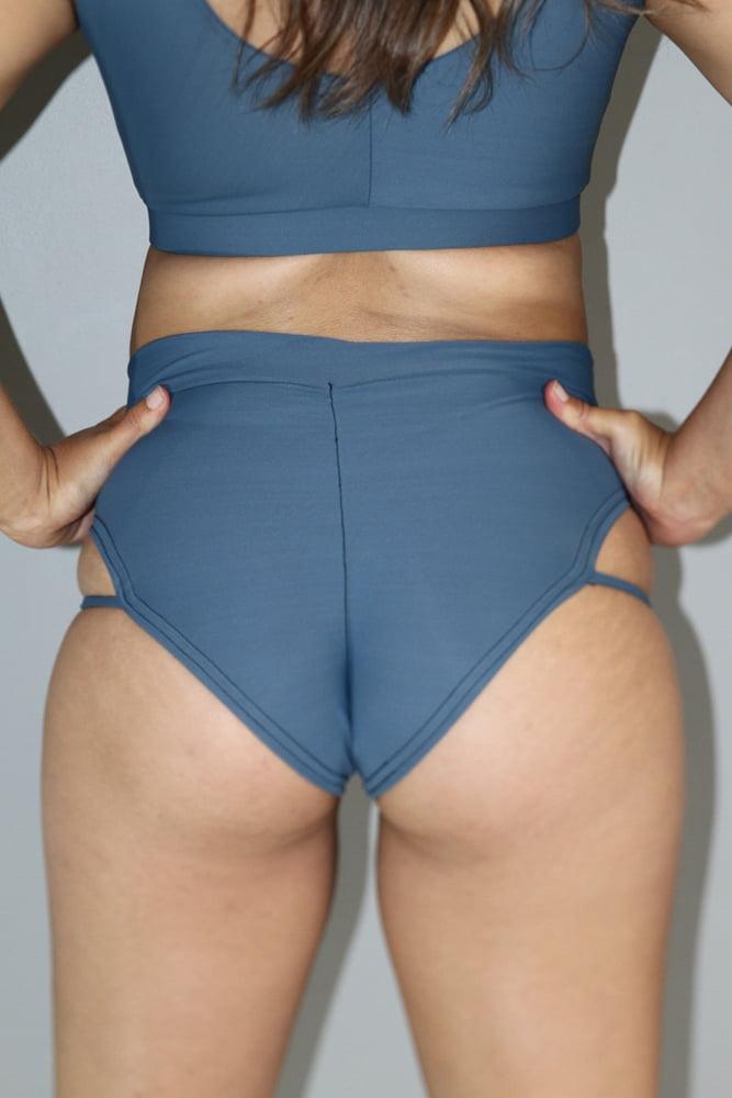 Smokey Blue Strap High Cut BRAZIL Scrunchie Bum Shorts