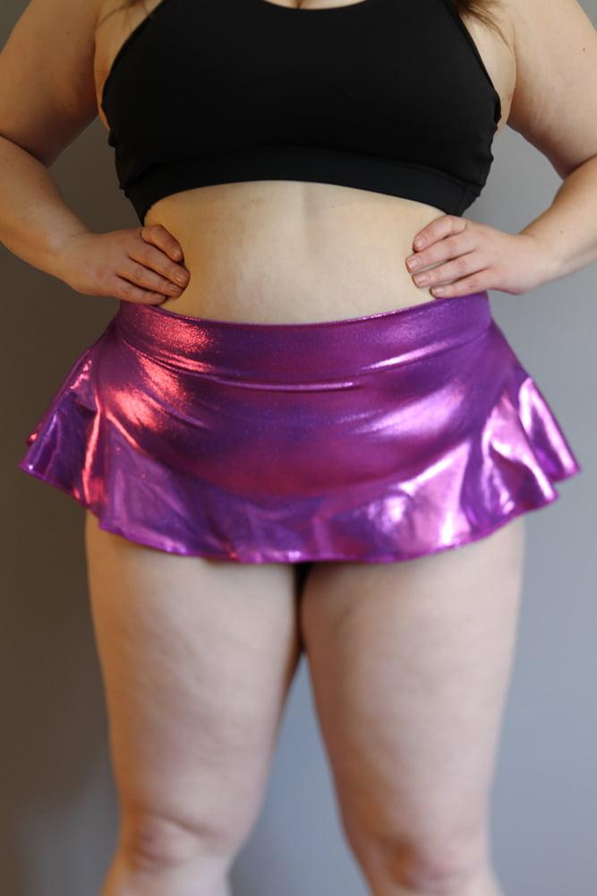 Purple Sparkle Mid Waisted Skort - Plus Size
