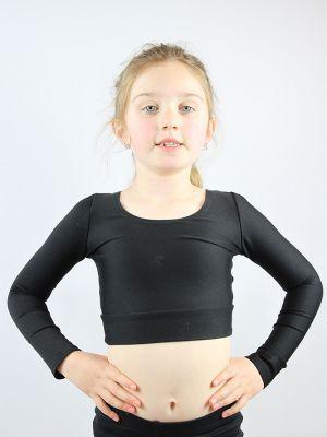 Matte Black Long Sleeve Crop Top Youth Girls