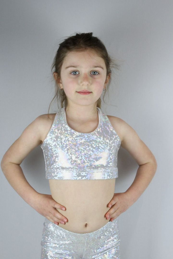 White Sparkle Crop Top Sports Bra Youth Girls