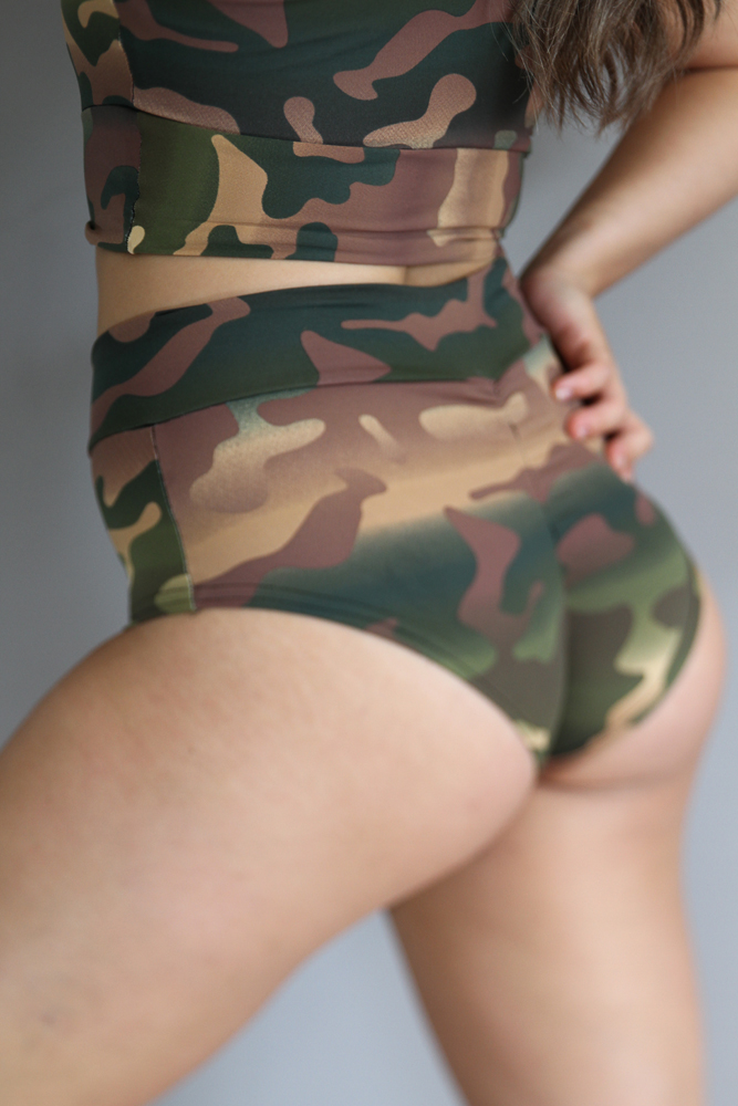 Camouflage High Waisted BRAZIL Scrunchie Bum Shorts