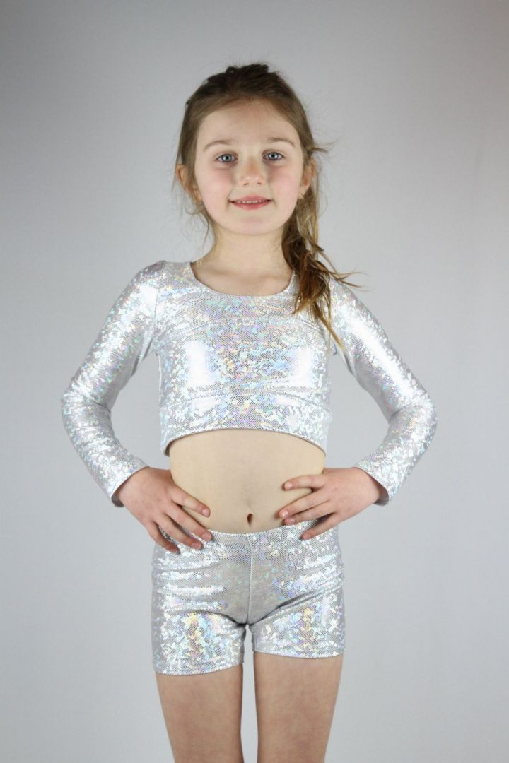 White Sparkle Short Youth Girls