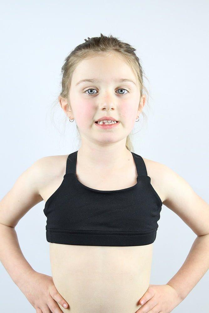 Matte Black V Sports Bra Youth Girls