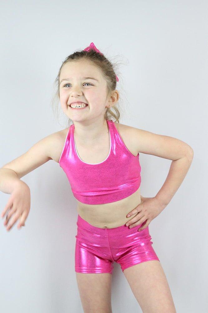 Pink Sparkle Crop Top Sports Bra Youth Girls