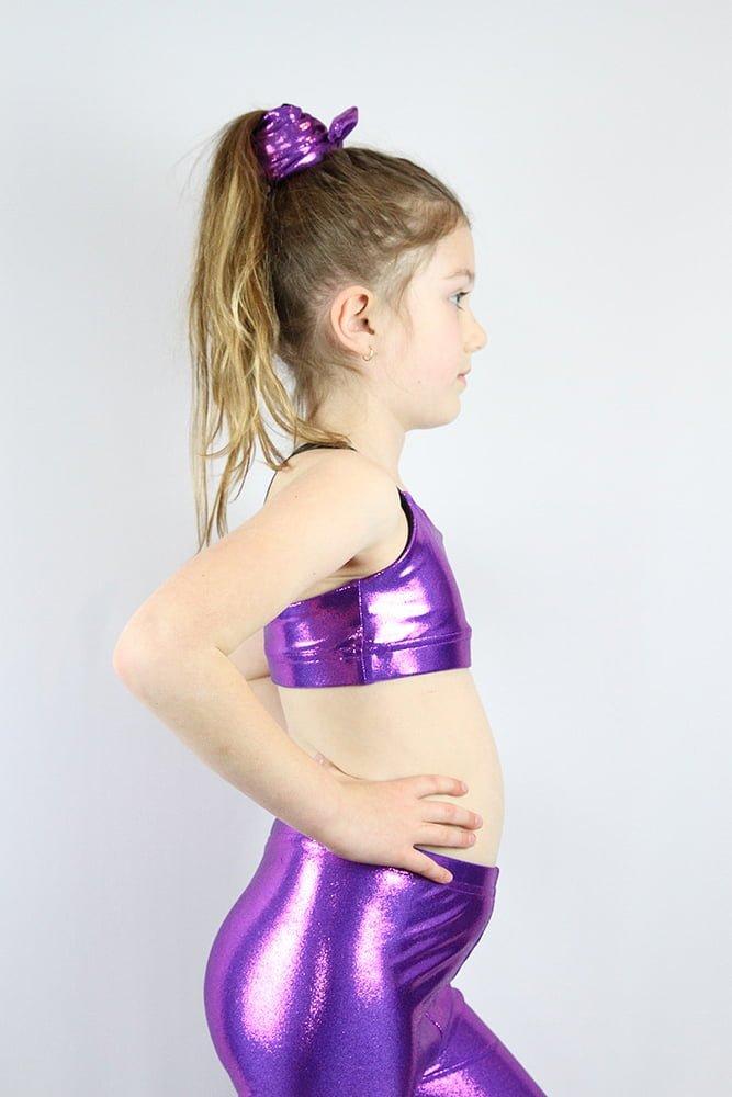 Purple Sparkle V Sports Bra Youth Girls