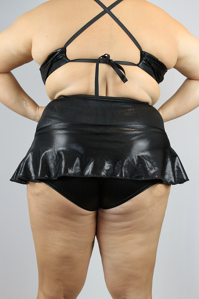 Rarr Designs Black Sparkle Mid Waisted Skort - Plus Size