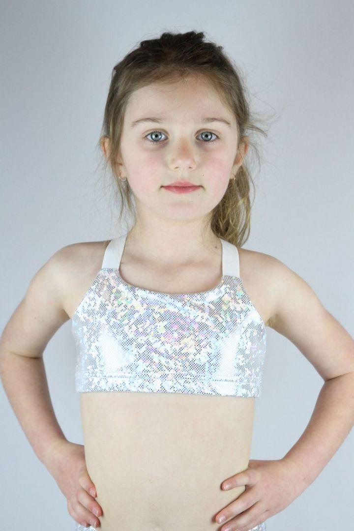 White Sparkle V Sports bra Youth Girls