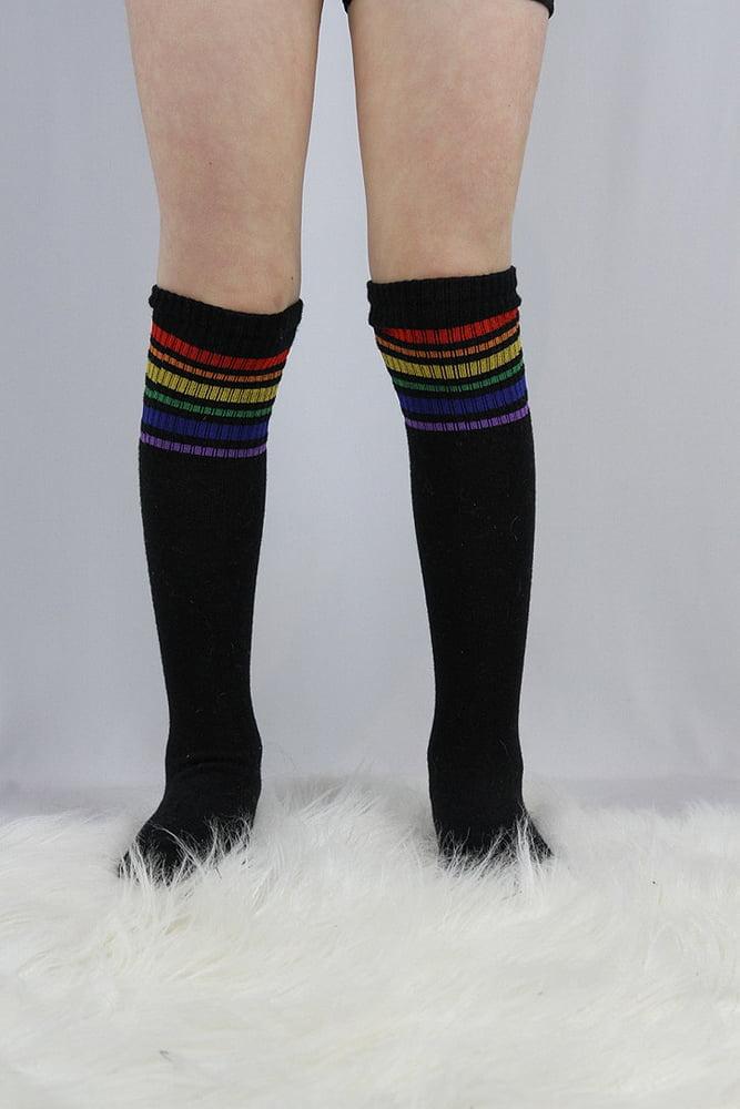 Knee High Football Socks black rainbow