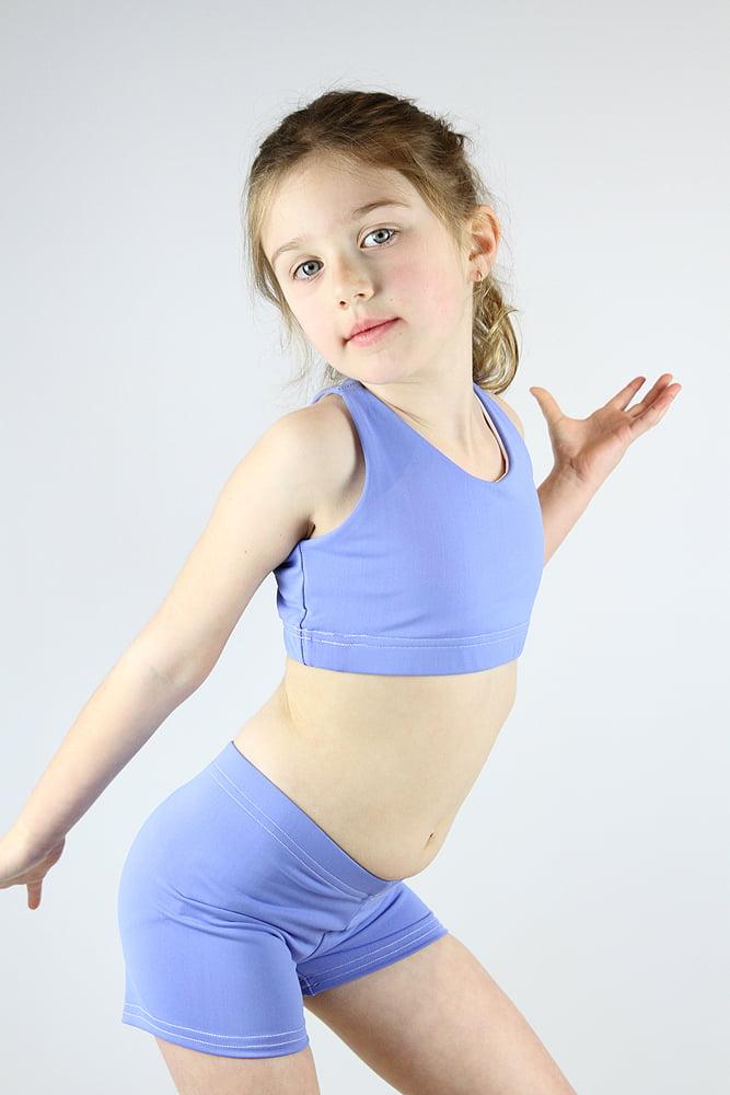 Cornflower Crop Top Sports Bra Youth Girls