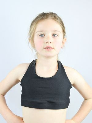 Matte Black Crop Top Sports Bra Youth Girls