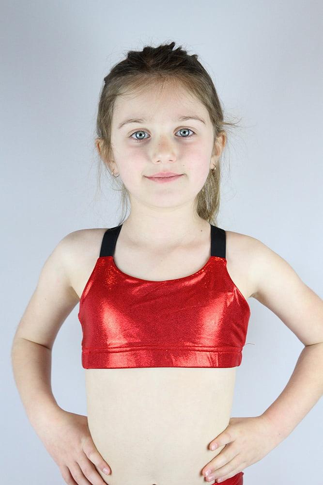 Red Sparkle V Sports bra Youth Girls