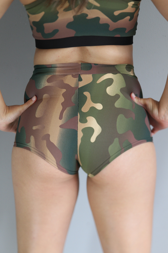 Camouflage High Waist Cheeky Shorts