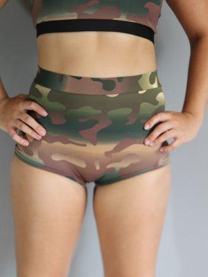 Camouflage High Waist Cheeky Shorts