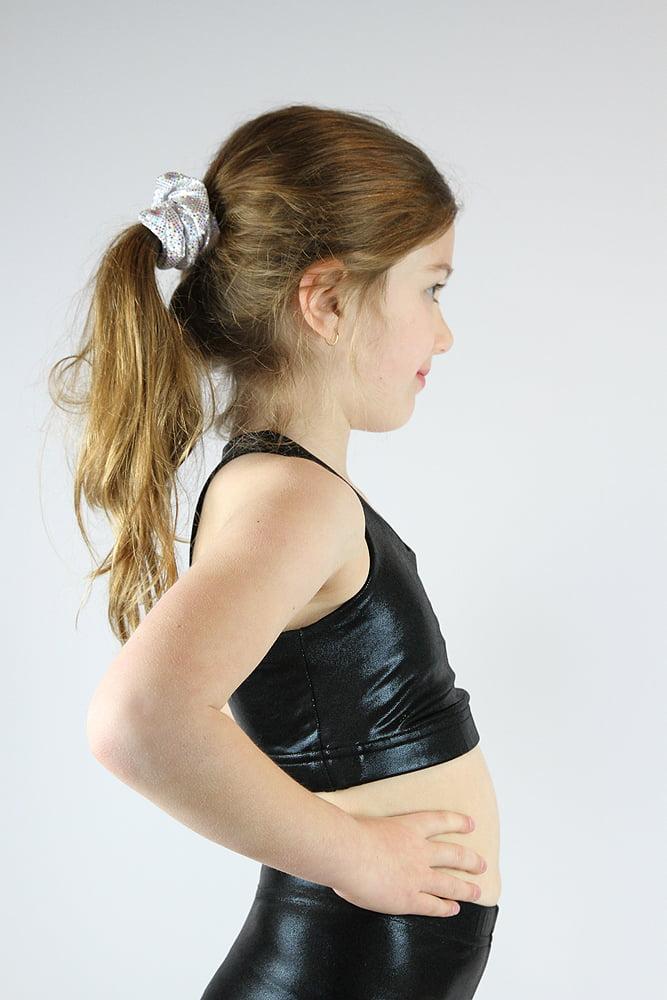 Black Sparkle Crop Top Sports Bra Youth Girls