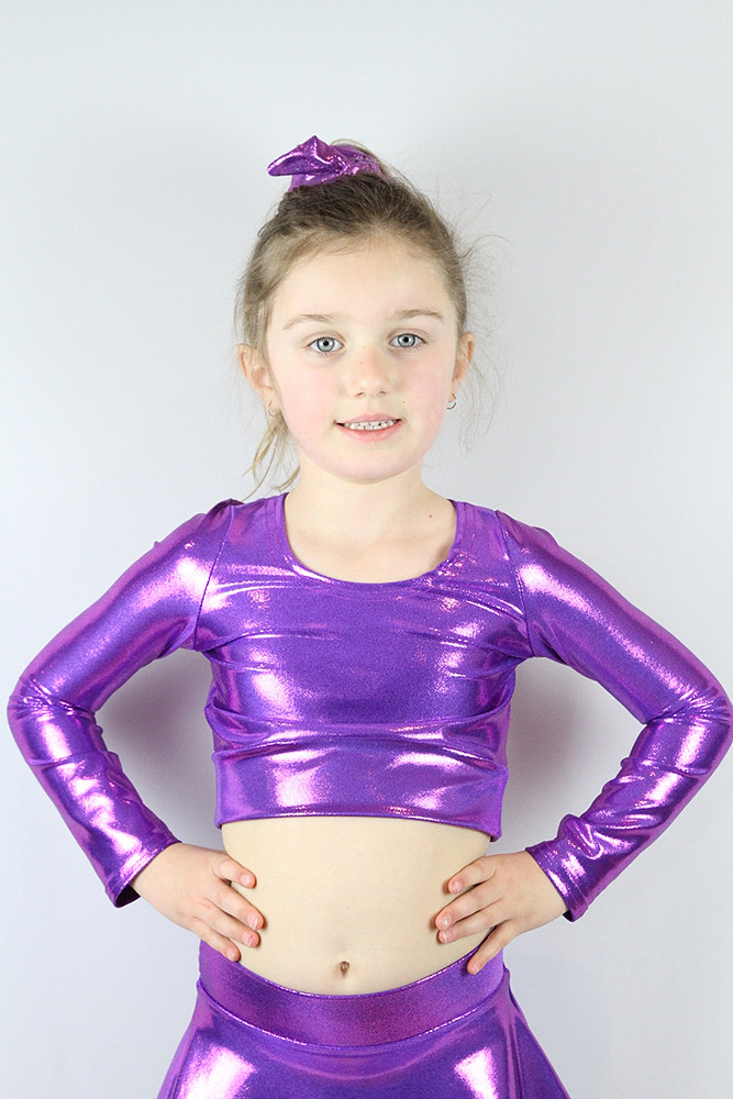 Purple Sparkle Long Sleeve Crop Top Youth Girls