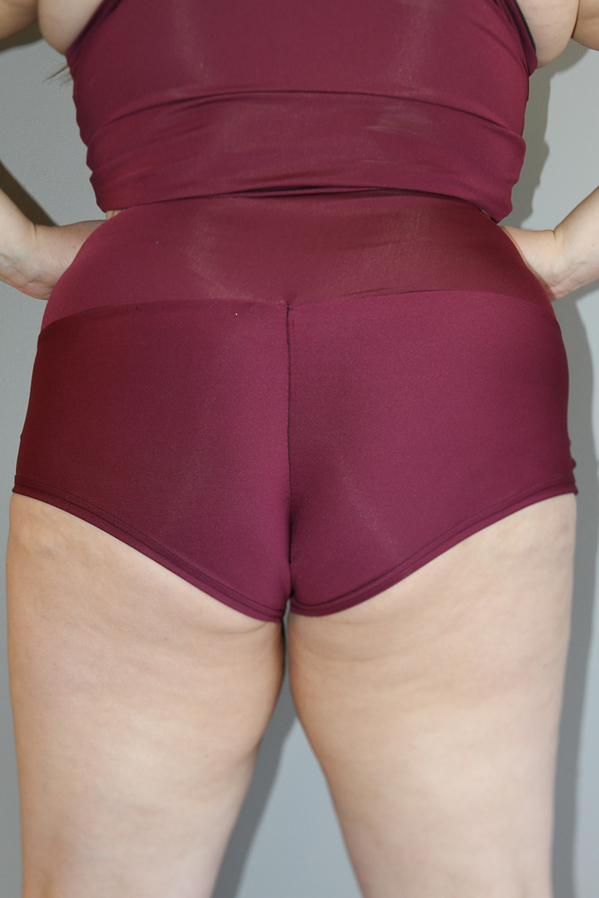 Fig High Waisted BRAZIL Scrunchie Bum Shorts - Plus Size
