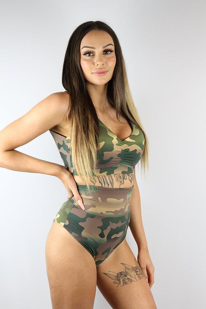 Rarr Designs Camouflage SUPER High Waisted BRAZIL Scrunchie Bum Shorts