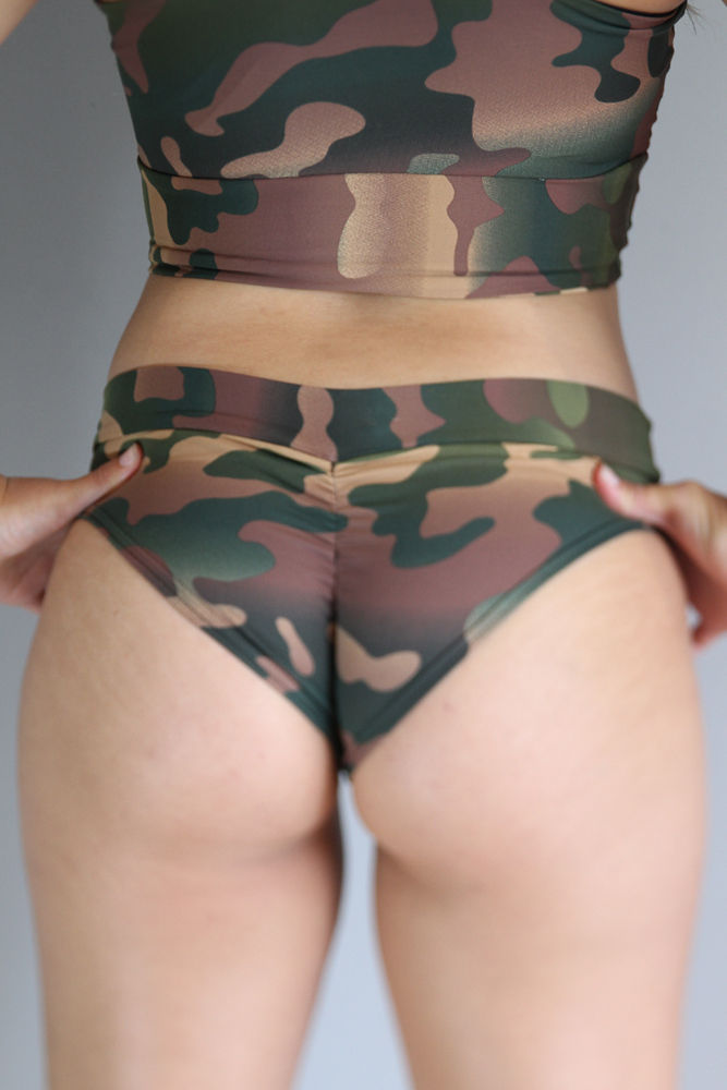 Camouflage BRAZIL Fit Scrunchie Bum Shorts