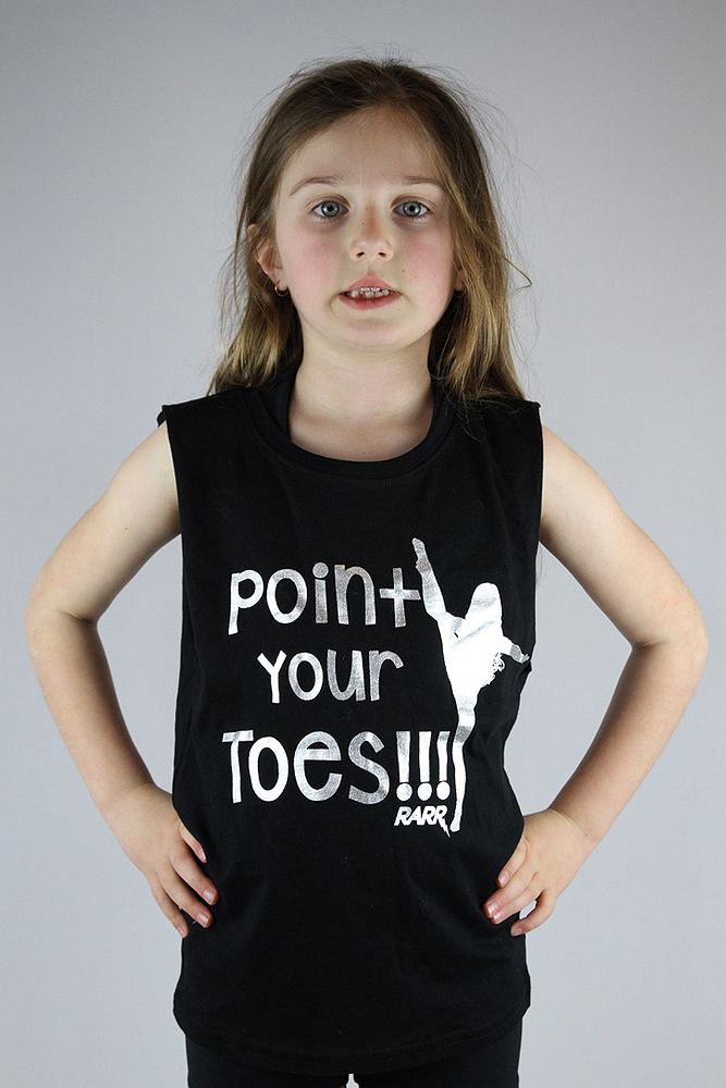 Point your toes Youth Tank Black/Silver