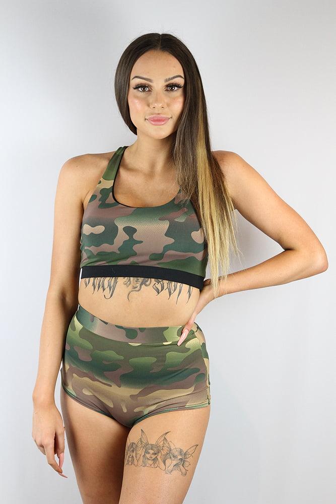 Rarr Designs Camouflage High Waist Cheeky Shorts