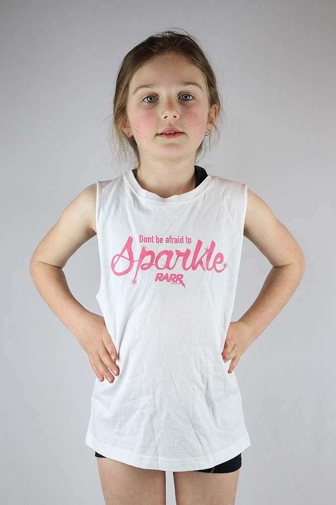 Don't be afraid to sparkle Youth tank white