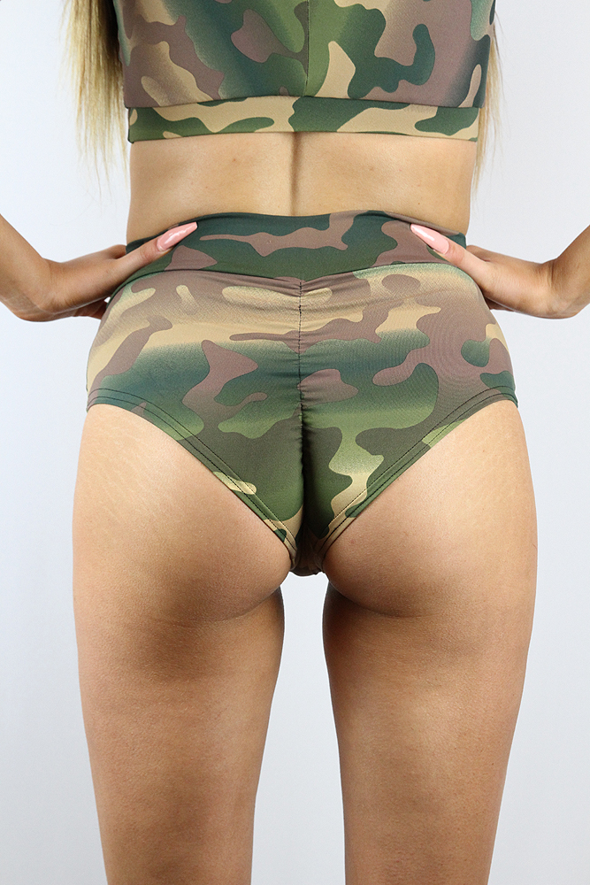 Rarr Designs Camouflage High Waisted BRAZIL Scrunchie Bum Shorts