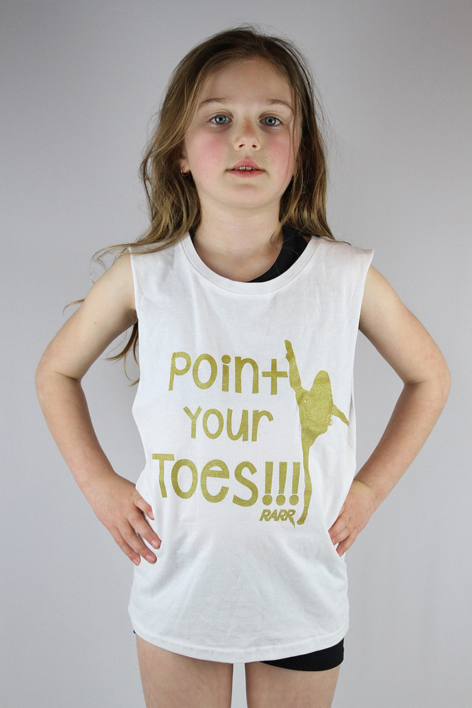 Point your Toes Youth Tank WHITE/GOLD