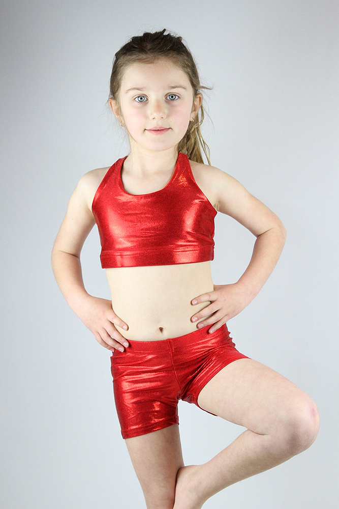 Red Sparkle Crop Top Sports Bra Youth Girls