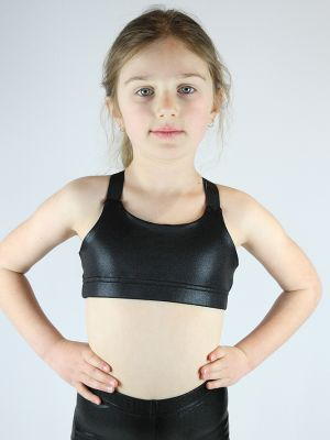 Black Sparkle V Sports bra Youth Girls