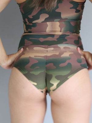 Camouflage High Waisted BRAZIL Scrunchie Bum Shorts