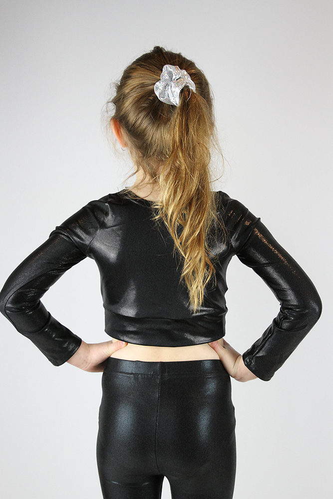 Black Sparkle Long Sleeve Crop Top Youth Girls