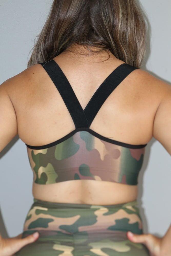 Camouflage V Sports Bra