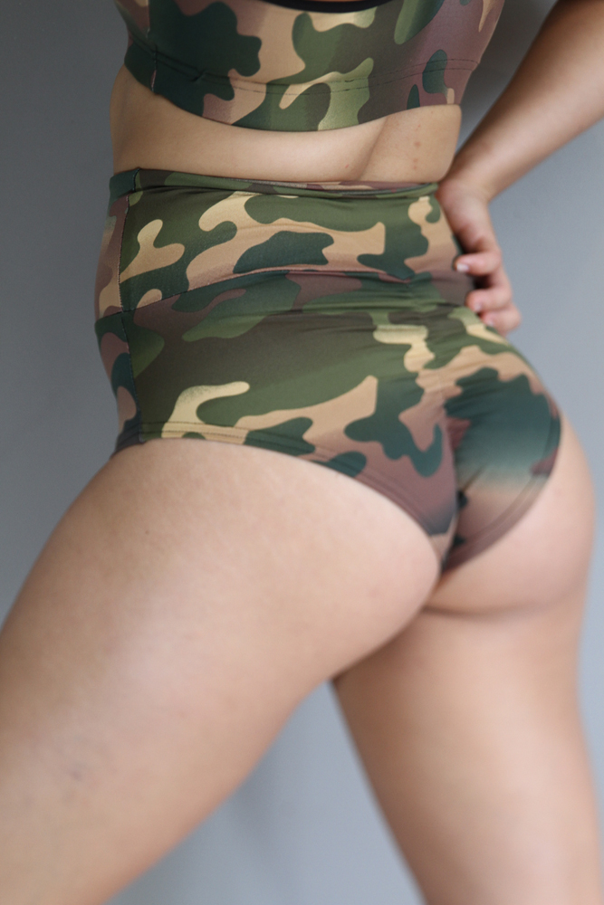 Camouflage SUPER High Waisted BRAZIL Scrunchie Bum Shorts
