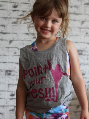 Point your toes Youth Tank Grey/Pink