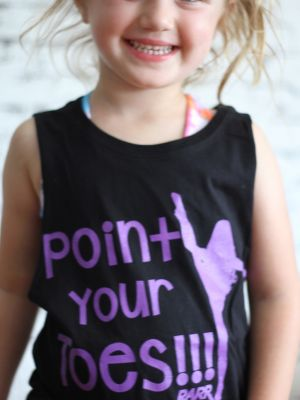 Point Your Toes Youth Tank Black/Purple