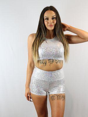 Rarr Designs White Sparkle Gym Short