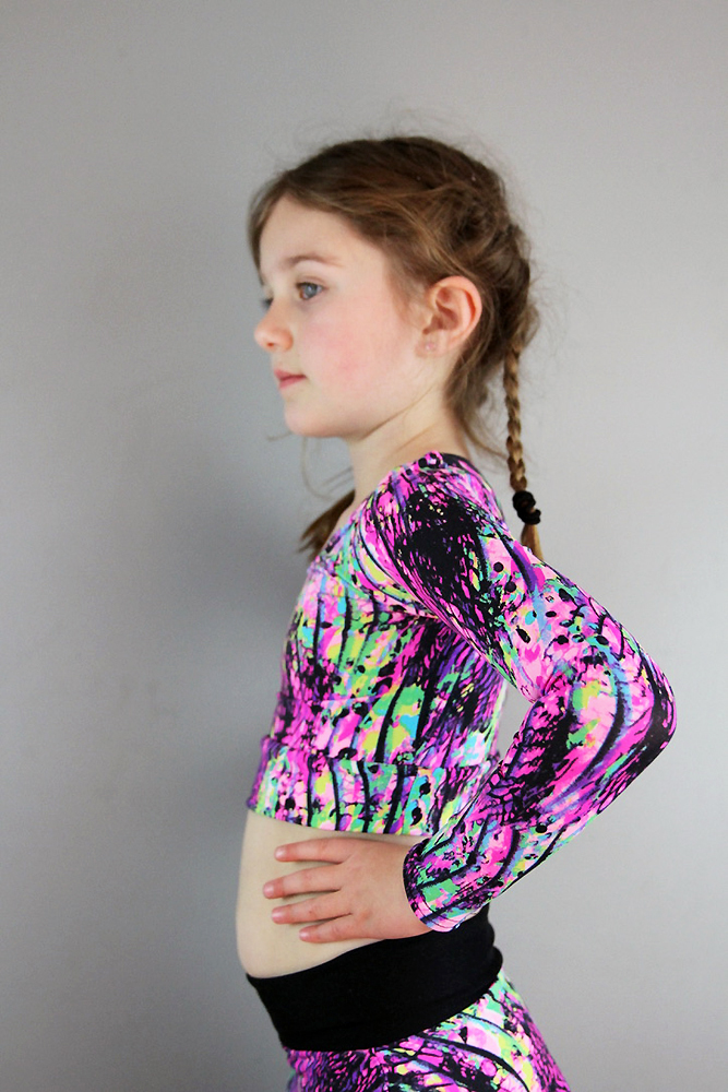 Pink Mystic Long Sleeve Crop Top Youth Girls
