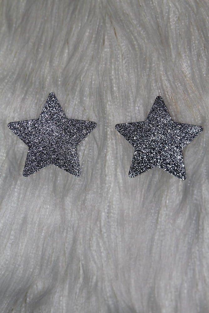Rarr Designs Star Glitter Nipple Pasties Silver