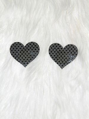 Rarr Designs Heart Sequin Nipple Pasties Black