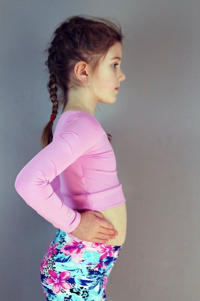Peony Long Sleeve Crop Top Youth Girls