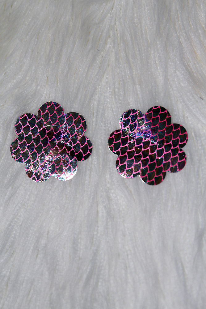 Rarr Designs Flower fish scales Nipple Pasties Metallic Black/Pink