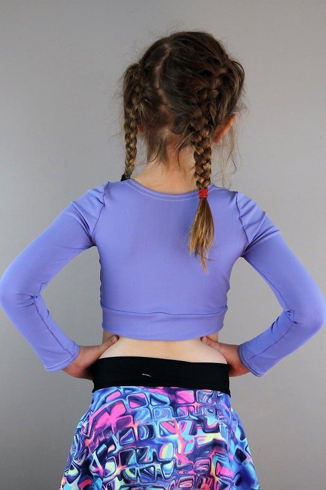 Cornflower Long Sleeve Crop Top Youth Girls
