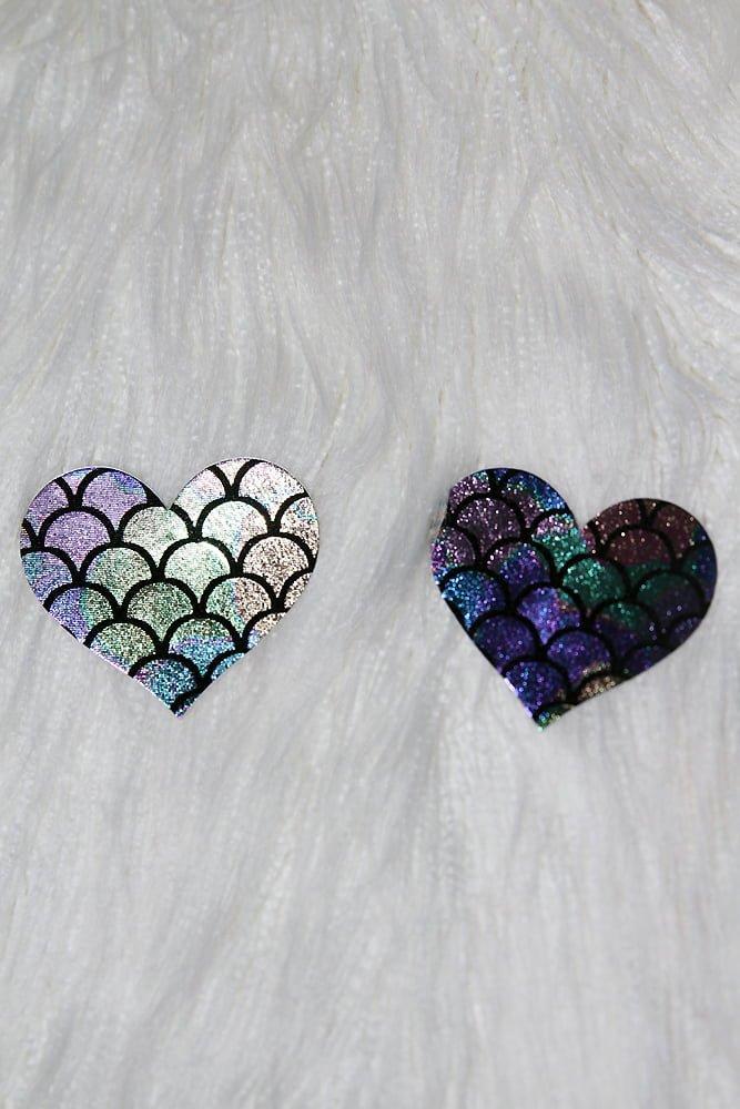 Rarr Designs Heart fish scales Nipple Pasties Silver Rainbow